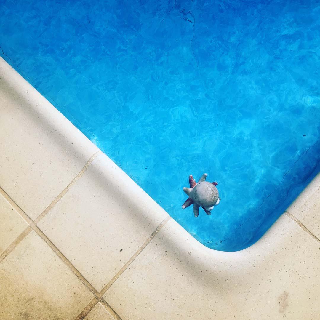 dans l'angle de la piscine